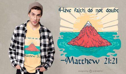 Diseño de camiseta de religión de montaña de mar.