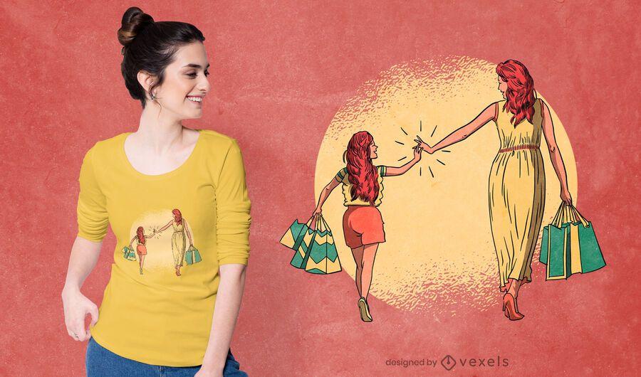 Design de t-shirt de compras para mãe e filha