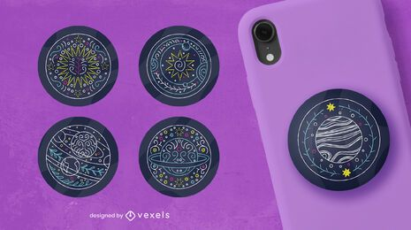 Space planets line art popsocket set