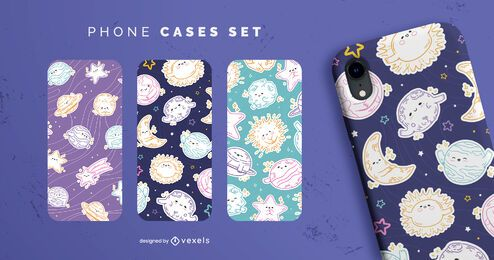 Cute planets and stars space phone case set