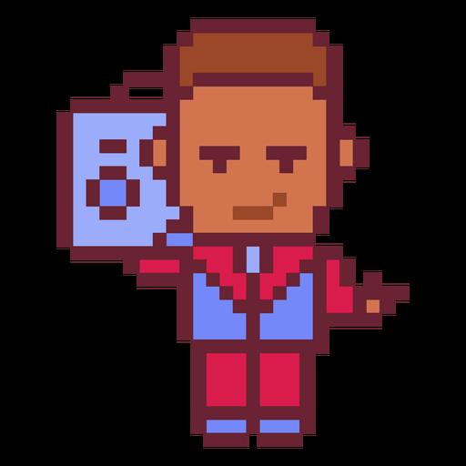 Boy with boombox pixel art