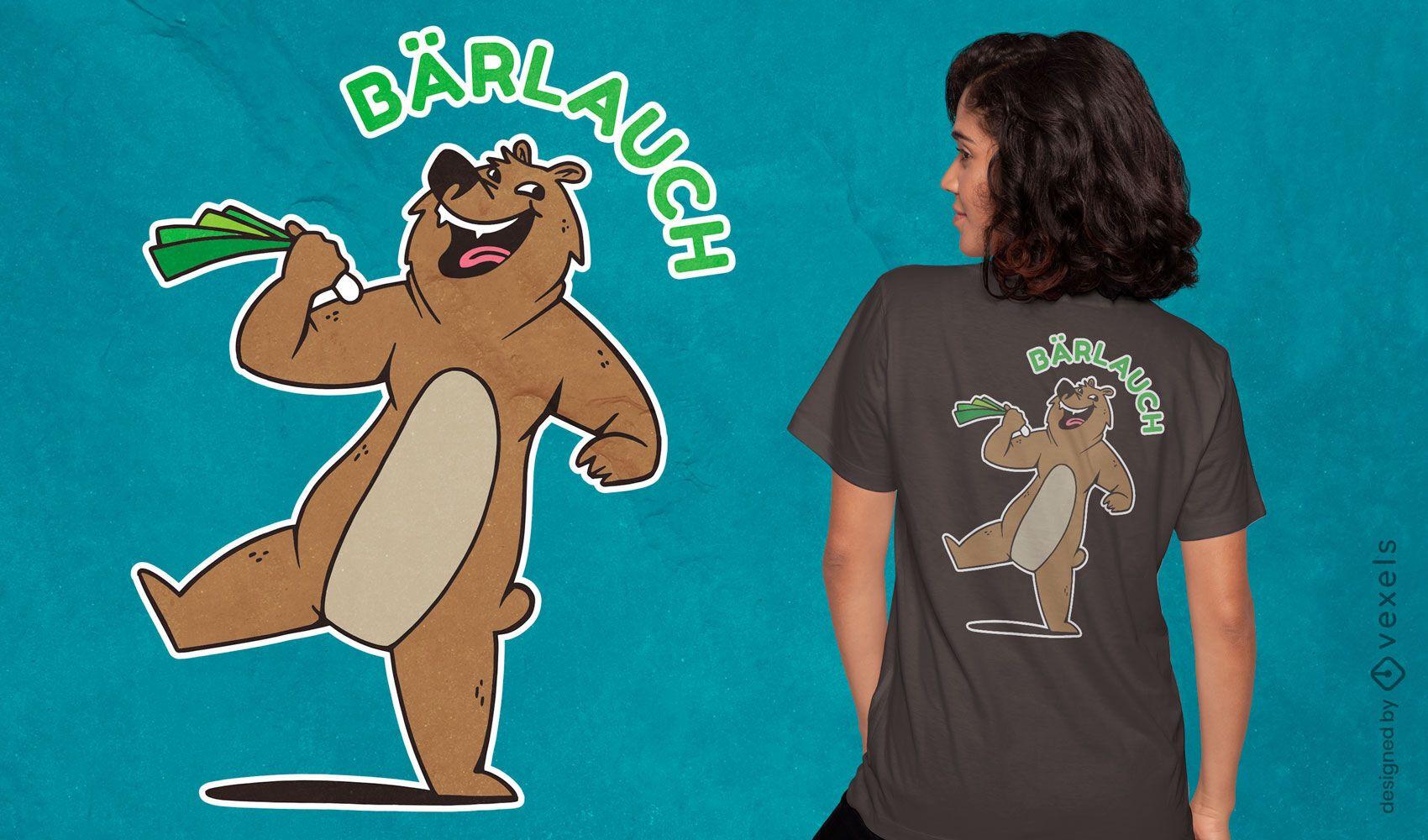 Divertido diseño de camiseta de oso riendo