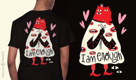 Diseño de camiseta abstracta de criatura de amor propio.