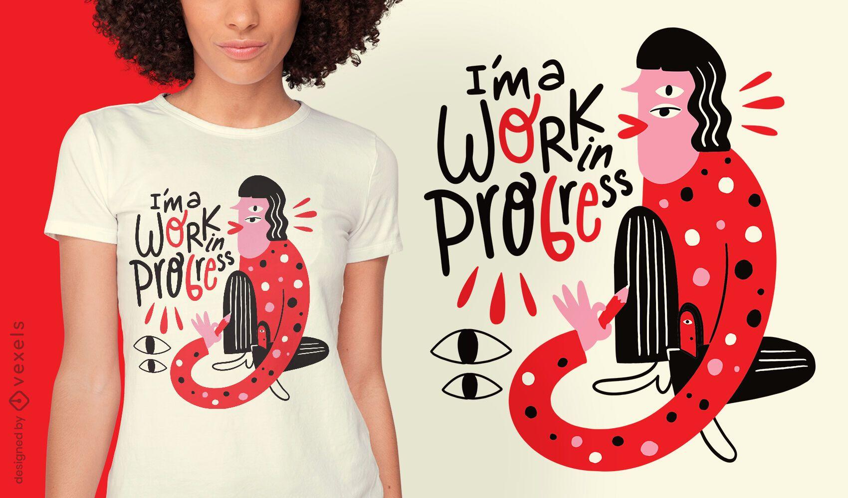 Diseño de camiseta de criatura abstracta de motivación.