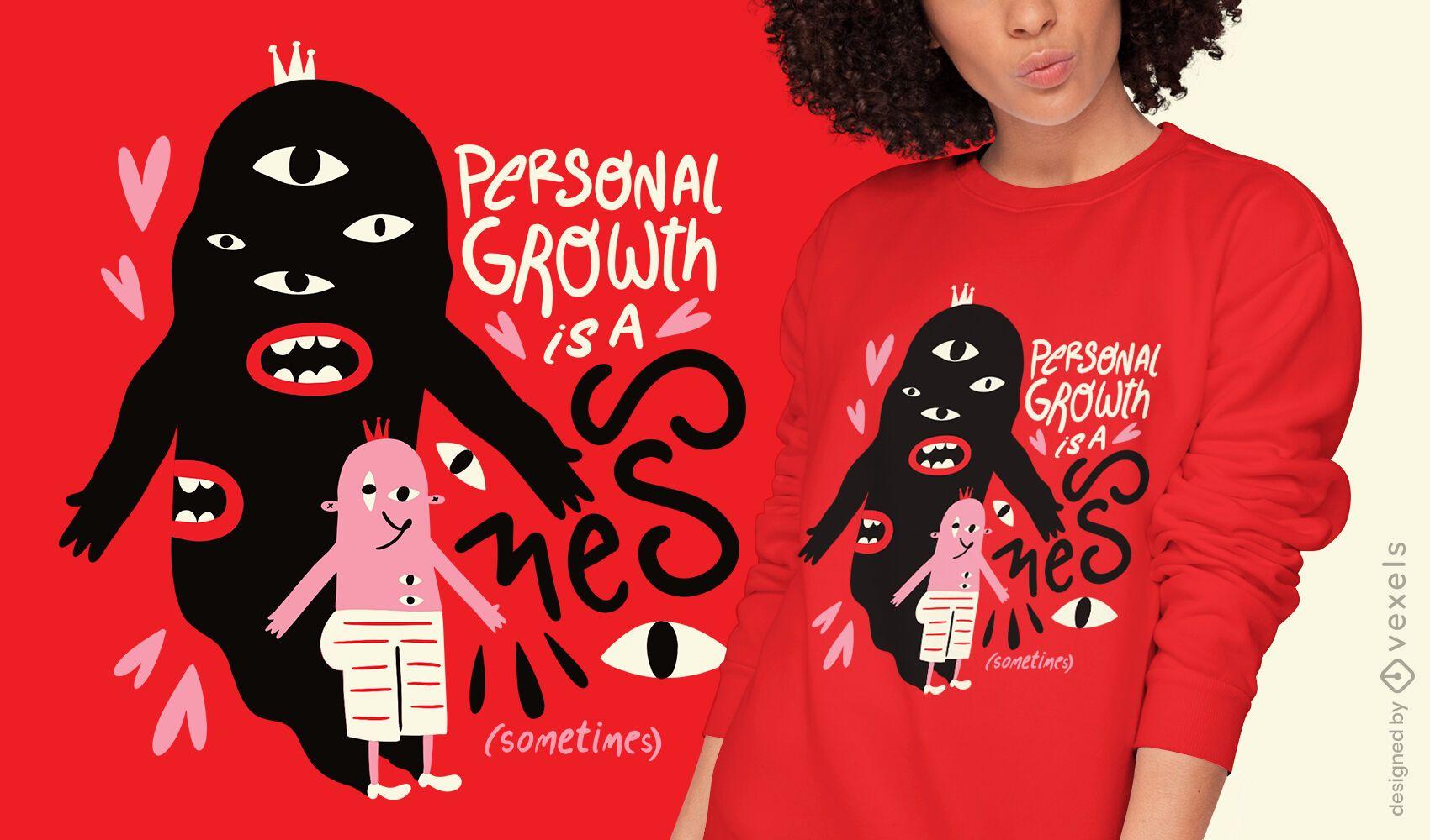 Diseño de camiseta de crecimiento personal de criatura abstracta.