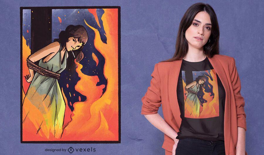 Desenho de t-shirt de cigarro de bruxa em chamas