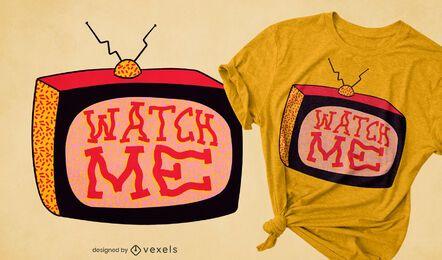 Design de camiseta retrô para assistir televisão