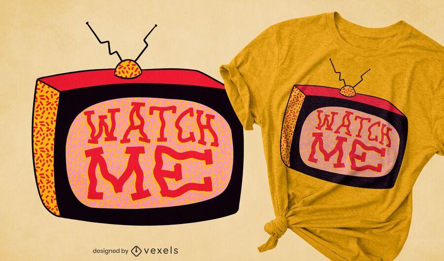 Diseño de camiseta de reloj de televisión retro.