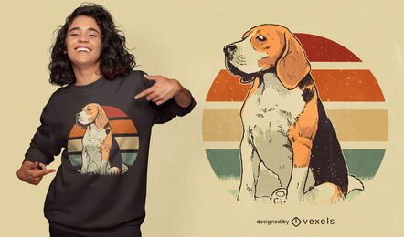 Diseño de camiseta beagle retro sunset