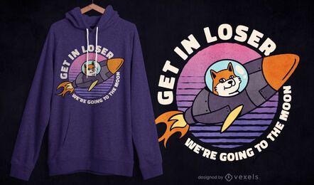 Design de t-shirt retro do pôr do sol do cão-foguete