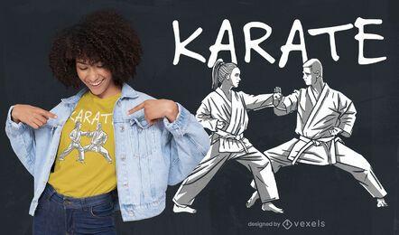 Diseño de camiseta de artes marciales de gente de karate.