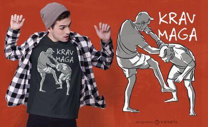 Diseño de camiseta de artes marciales krav maga.