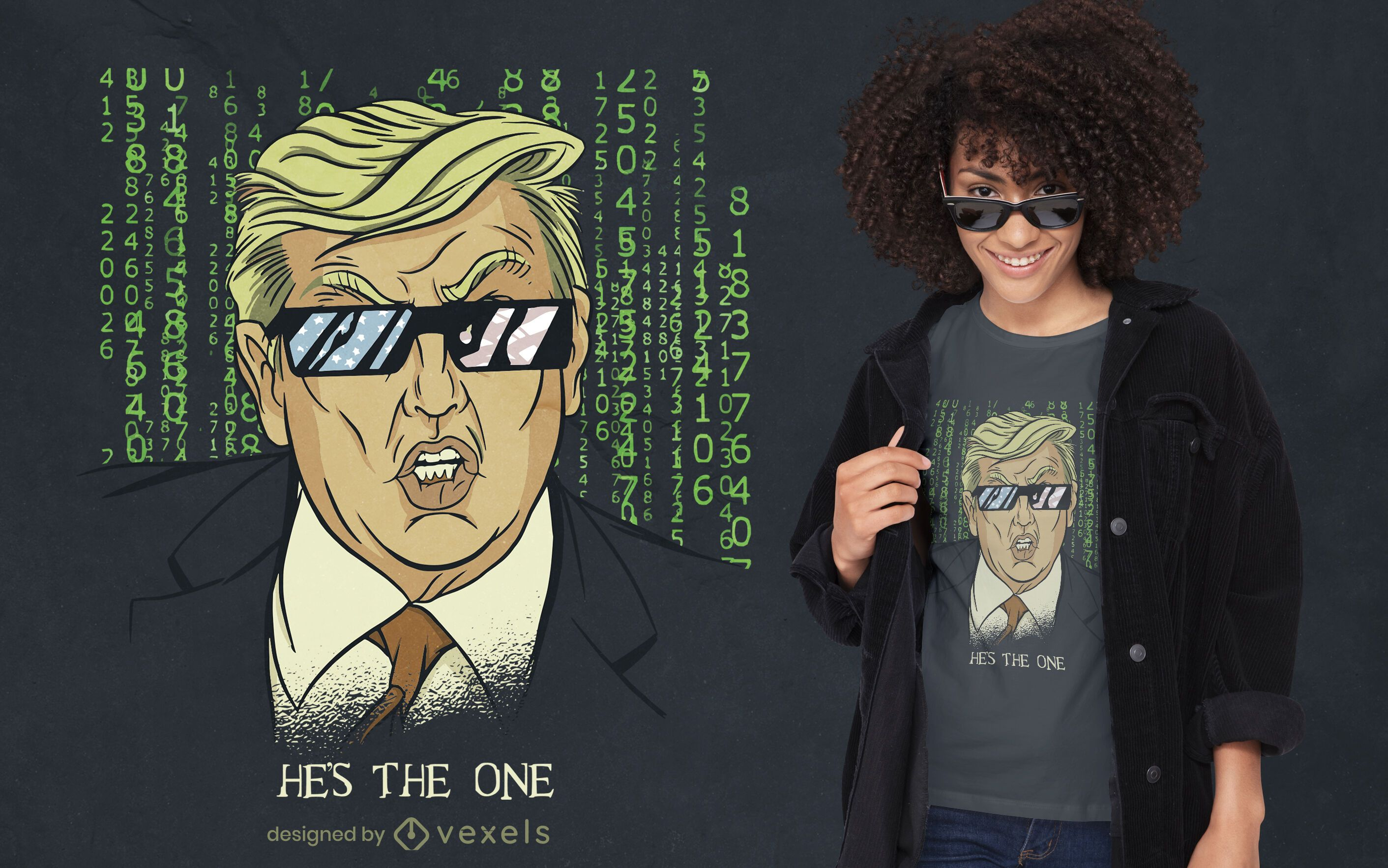 Diseño de camiseta estadounidense de parodia de Trump