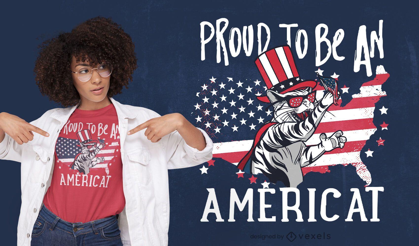Diseño de camiseta con cita de gato americano