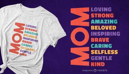 Design de camiseta com adjetivo para o dia das mães