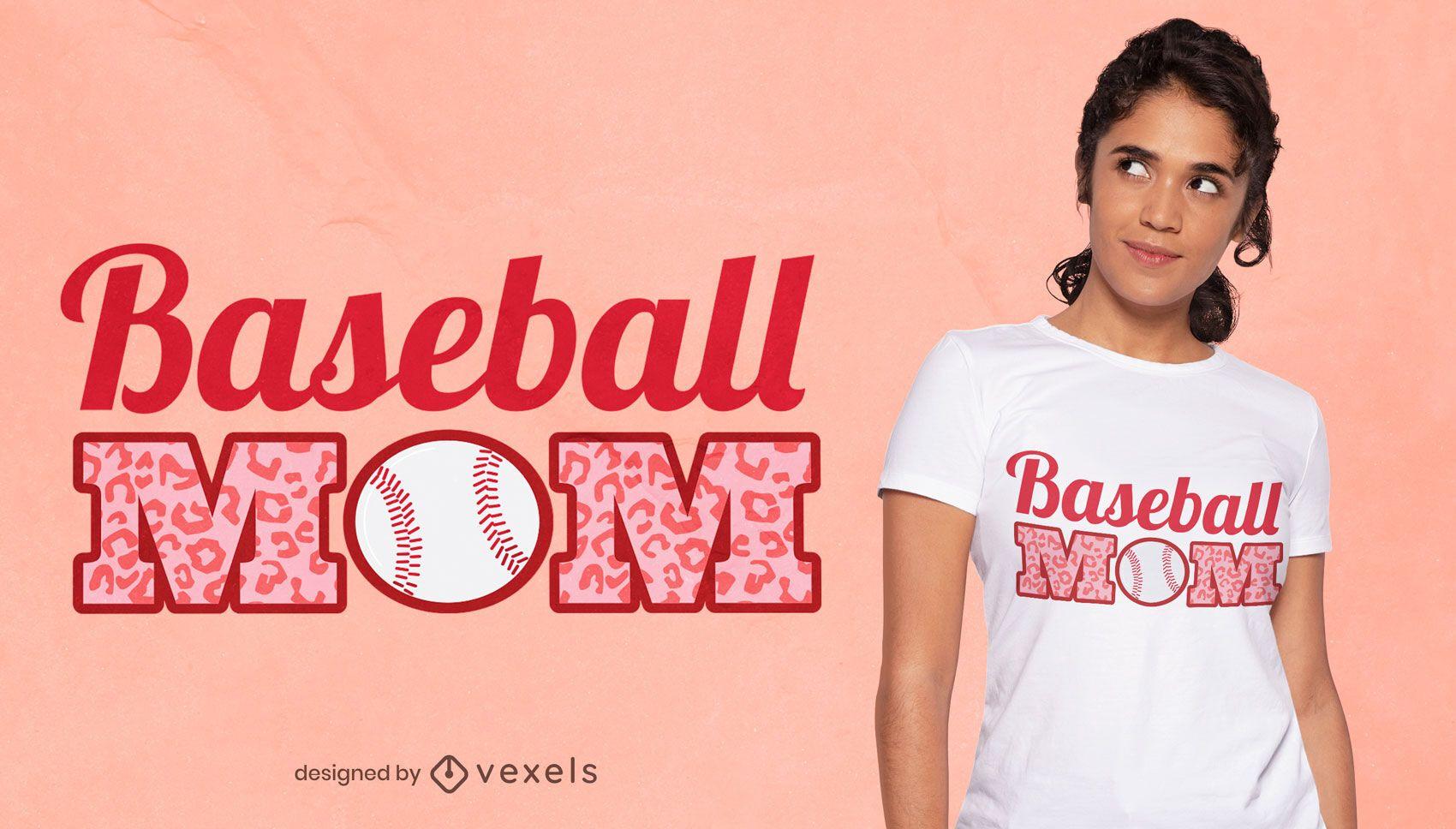 Diseño de camiseta divertida con cita de mamá de béisbol