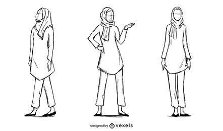 Conjunto de desenho de modelo de mulher muçulmana