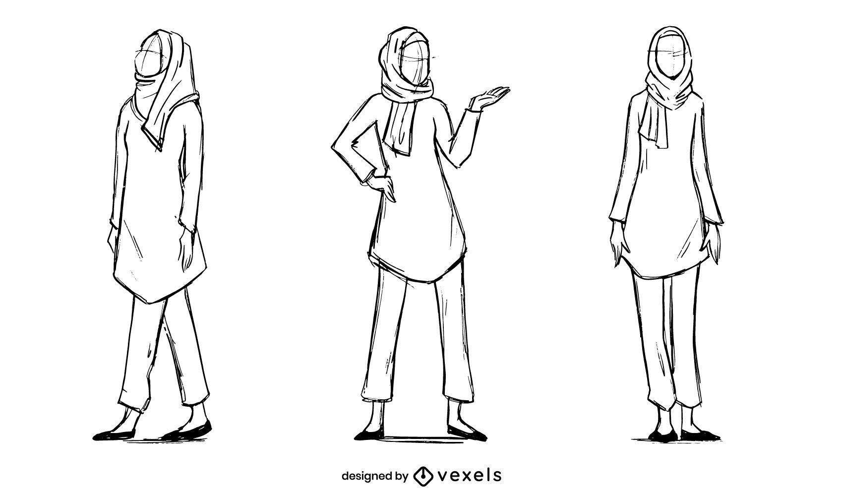 Conjunto de bocetos de modelo de mujer musulmana de moda