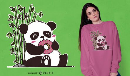 Design de camiseta de panda comendo rosquinha fofa