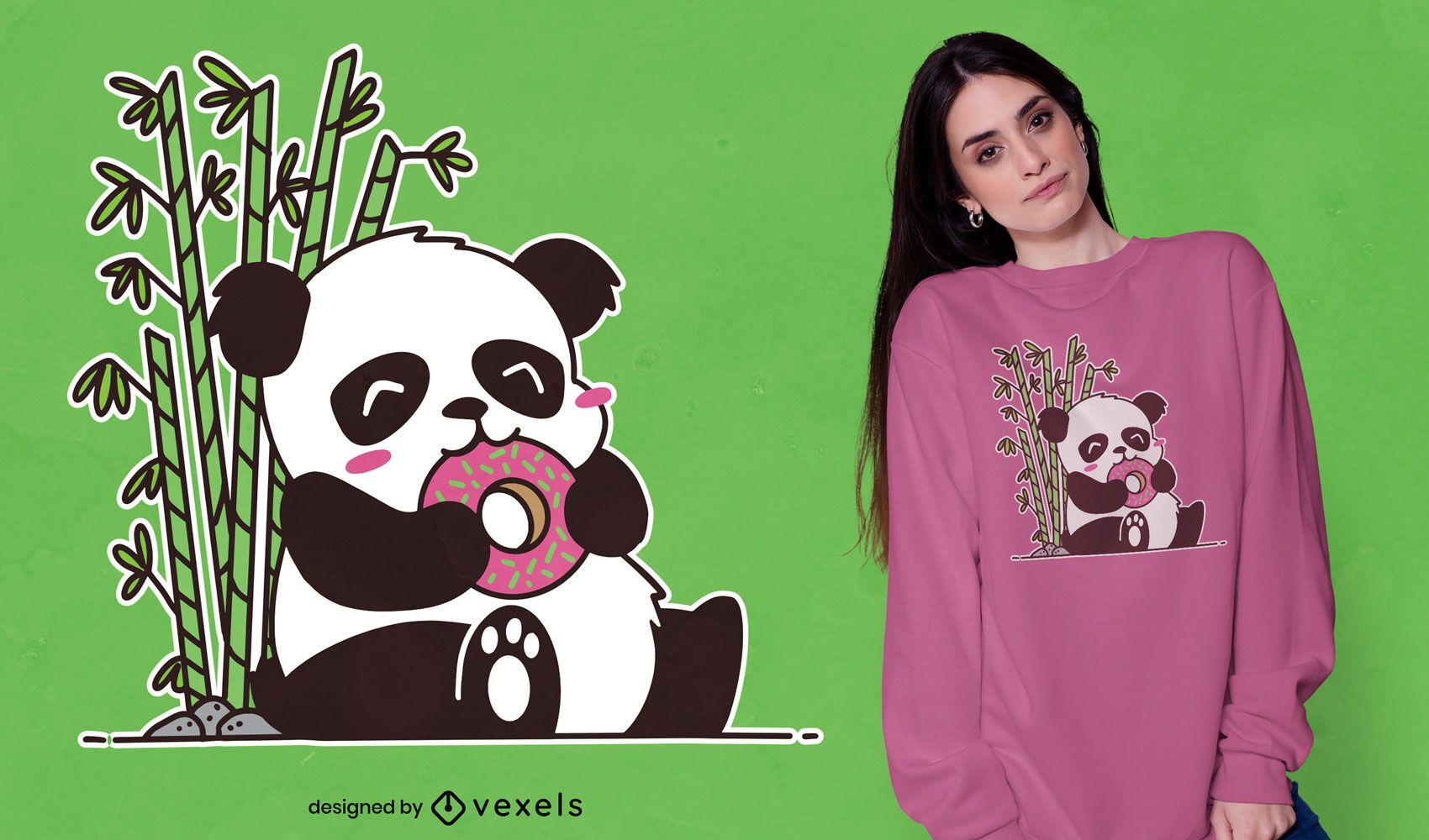 Dise?o de camiseta lindo panda comiendo donut