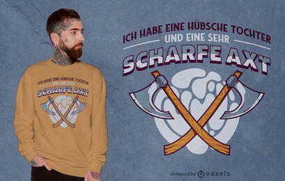 Design de camiseta com citação de arma de machado duplo