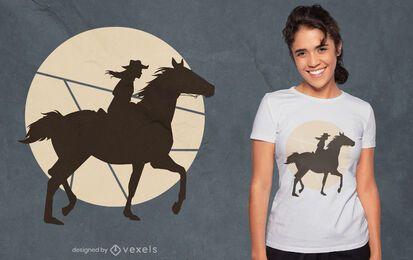 Woman horse rider silhouette t-shirt design