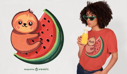 Sloth and watermelon cute t-shirt design