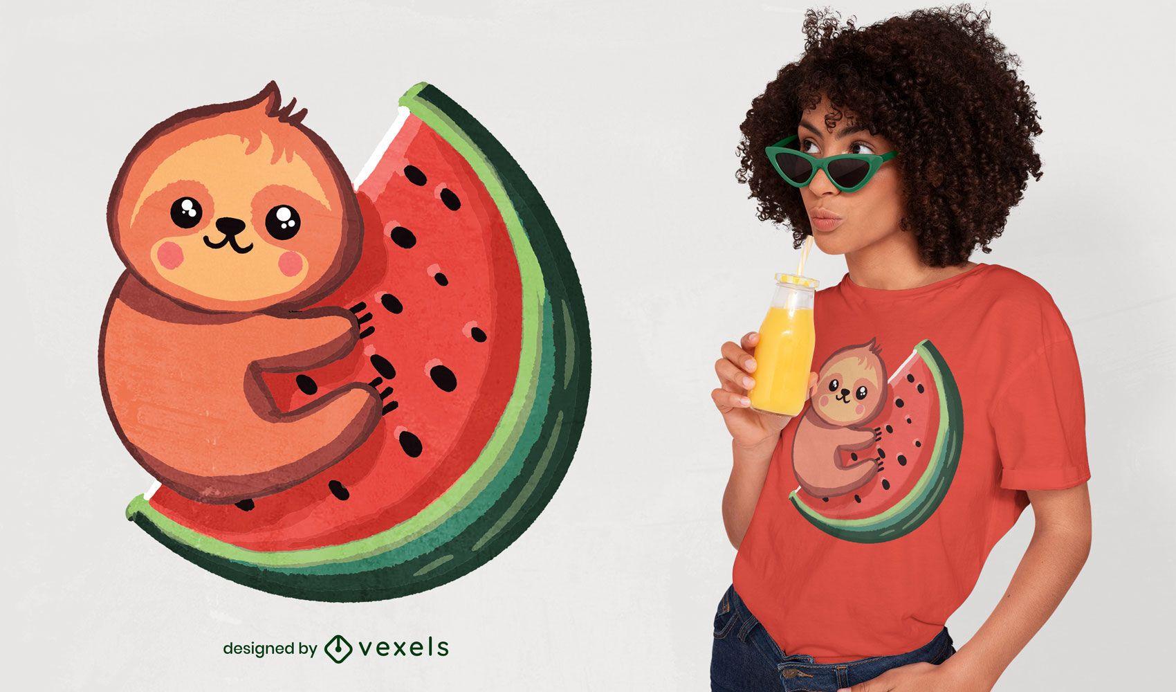 Design de camiseta fofa para preguiça e melancia