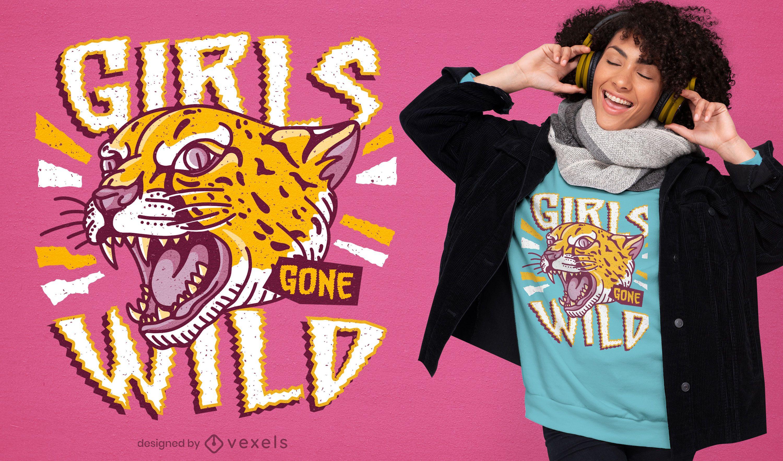 Diseño de camiseta con cita de guepardo de chicas salvajes