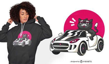 Black cat driving cute t-shirt design