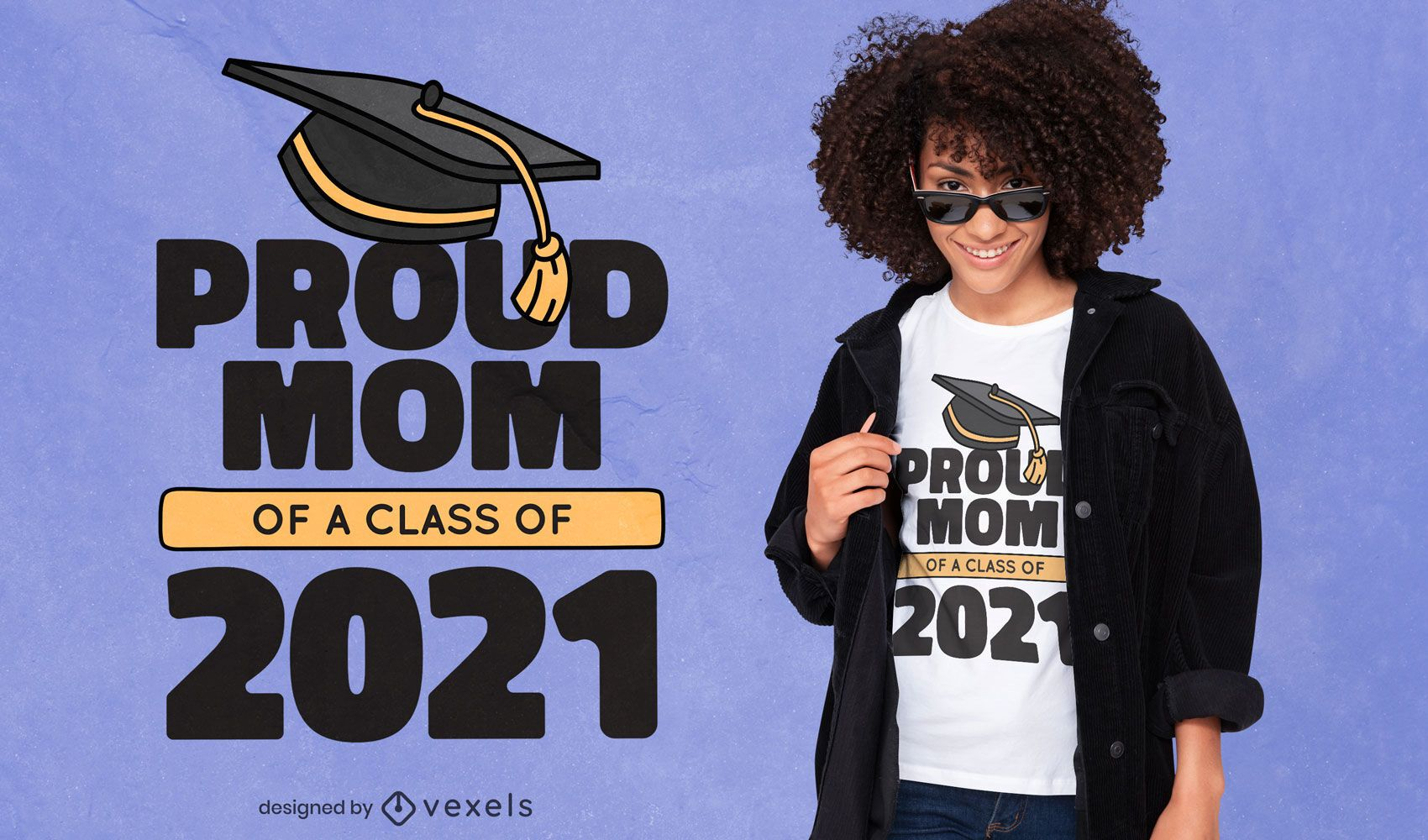 Diseño de camiseta de graduación de mamá orgullosa 2021