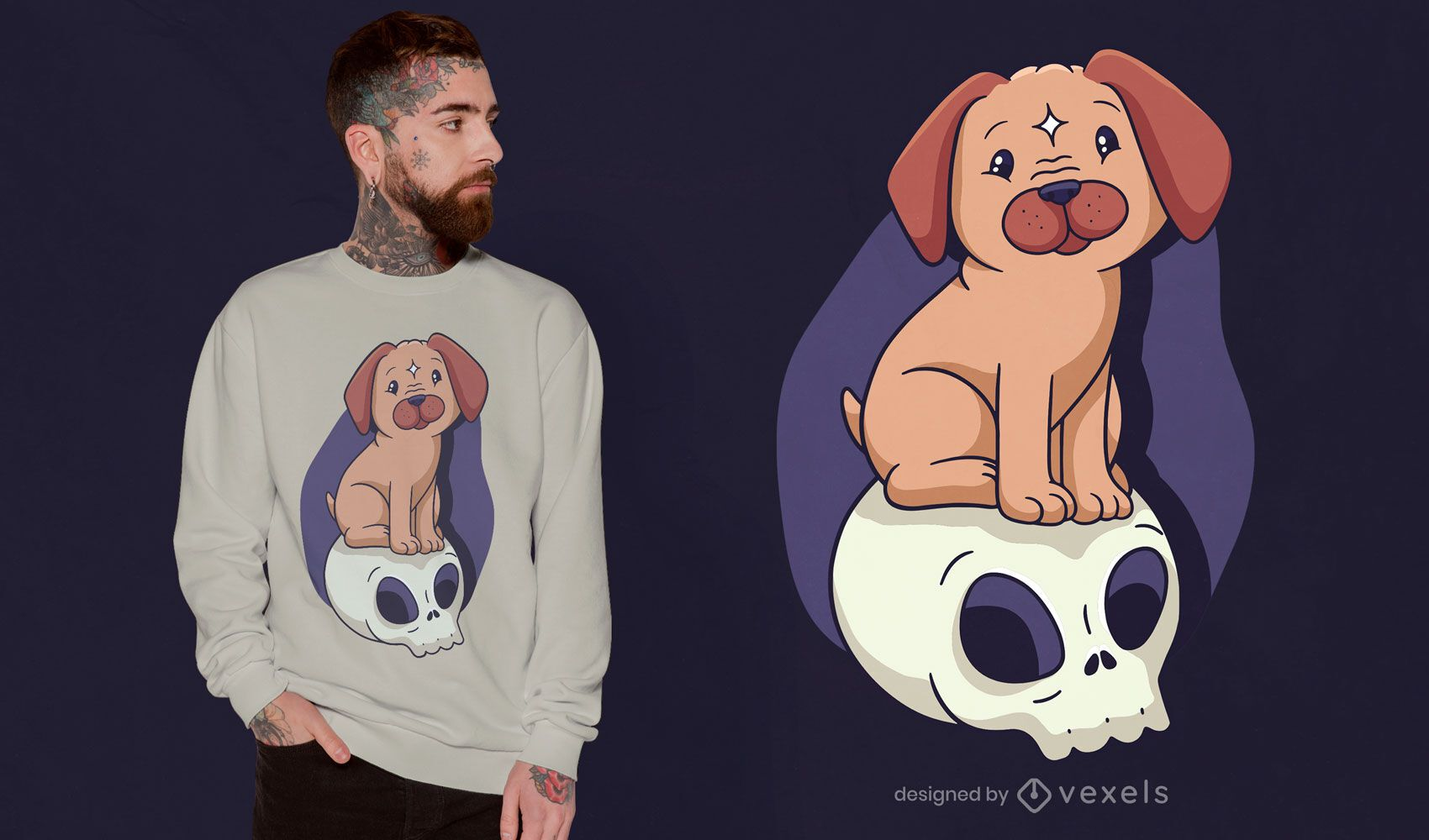 Dog on skull t-shirt design