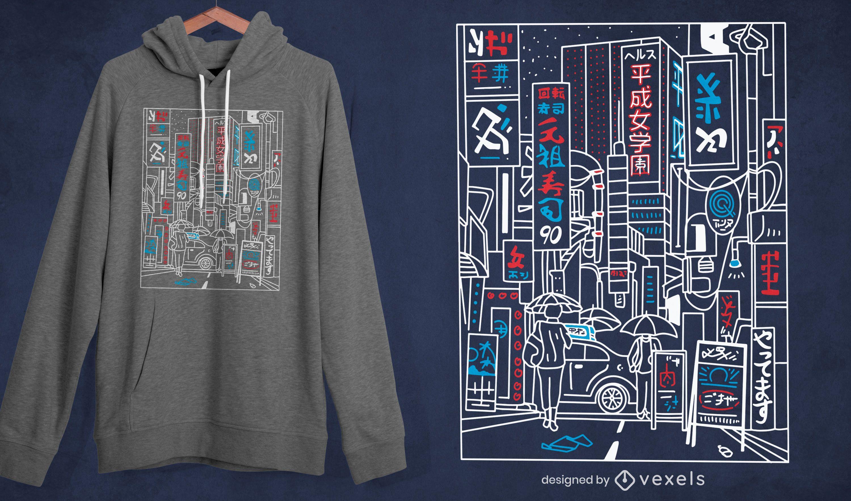 Design de camiseta com traço de rua de Tóquio