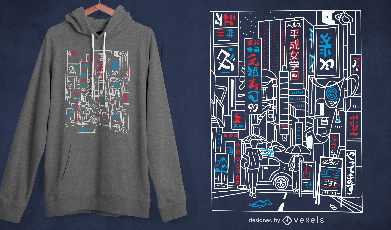 Tokyo street stroke t-shirt design
