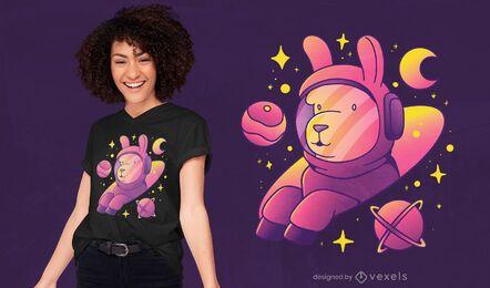 Diseño de camiseta llama astronaut.