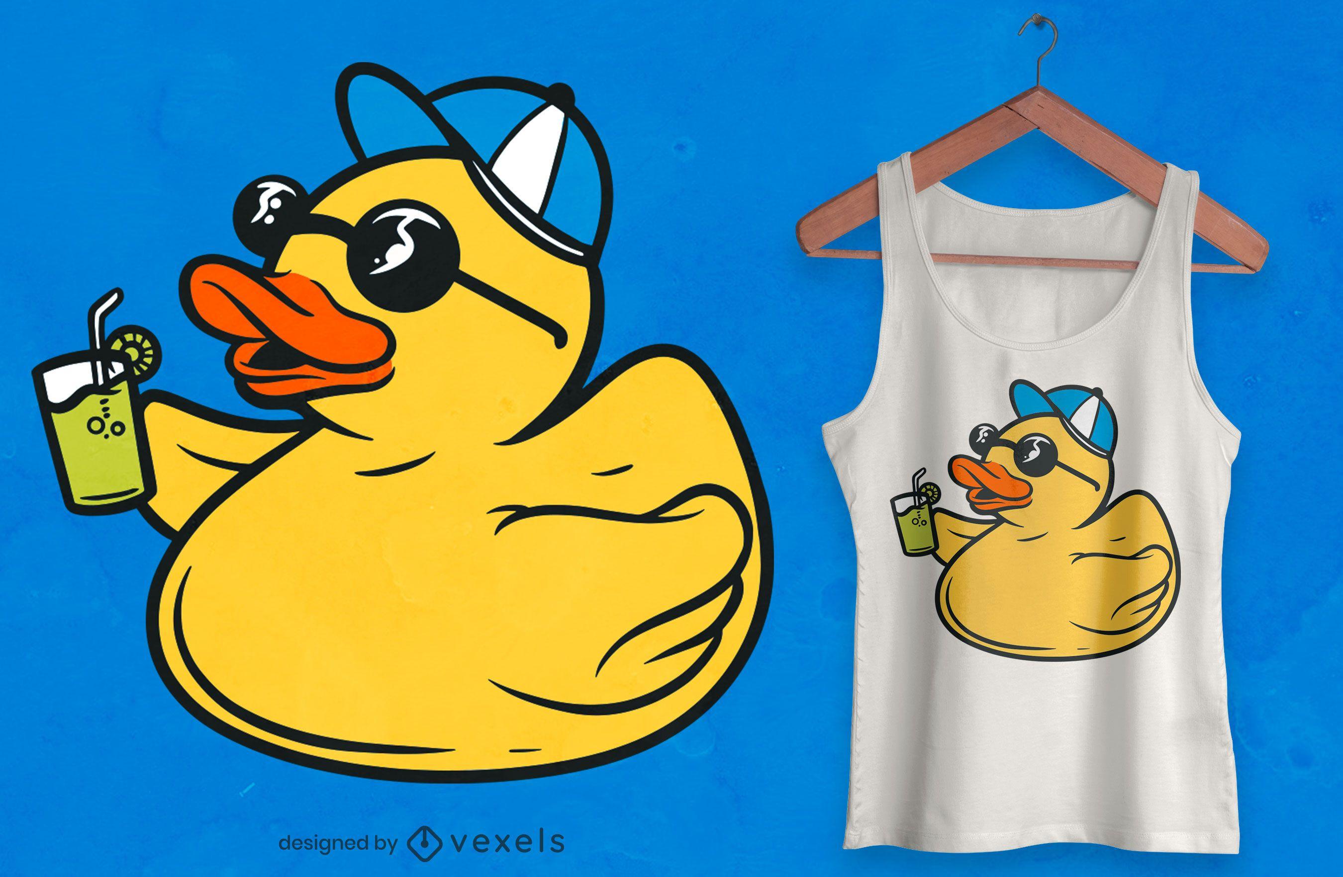 Diseño de camiseta de pato de goma de fiesta.