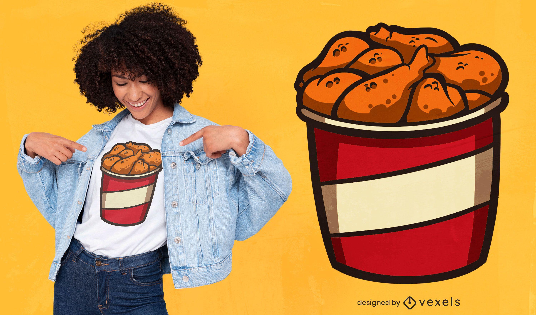Diseño de camiseta de pollo frito.