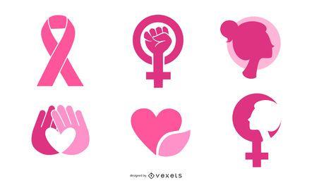 Material de vetor de ícone rosa feminino-2