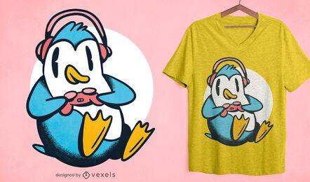 Design de camiseta de pinguim de jogador