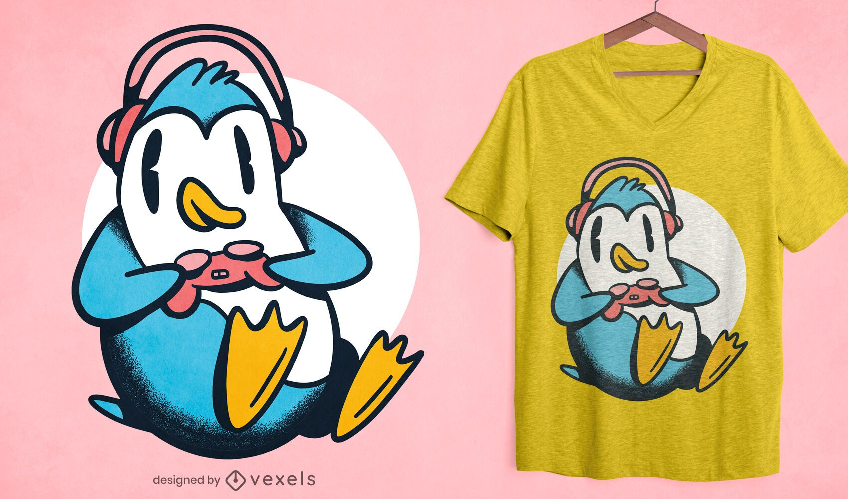 Gamer Pinguin T-Shirt Design