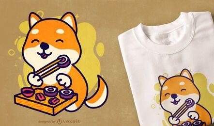 Design fofo de t-shirt shiba dog sushi