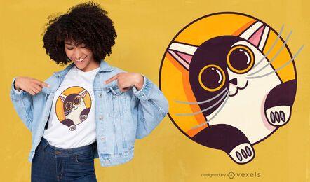 Lindo gato mirando diseño de camiseta
