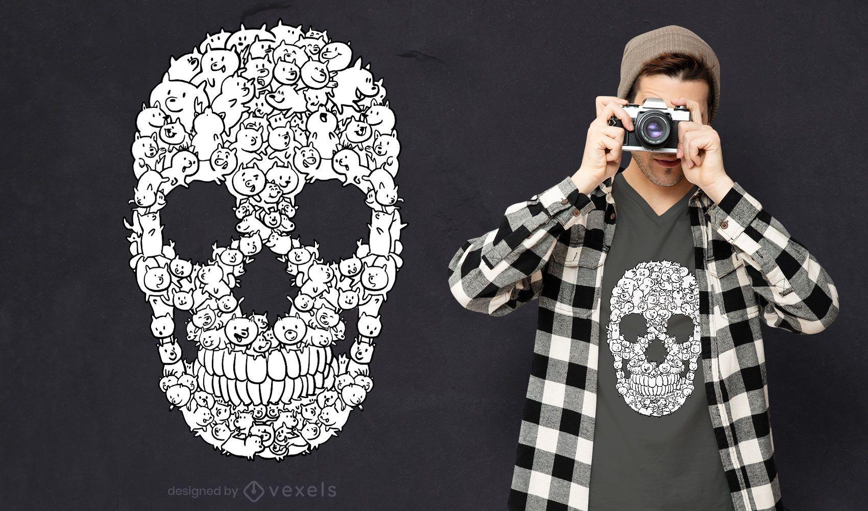 Cartoon dogs in skull t-shirt design