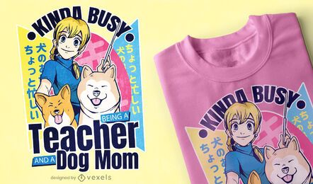 Desenho de t-shirt de anime de rapariga com cães