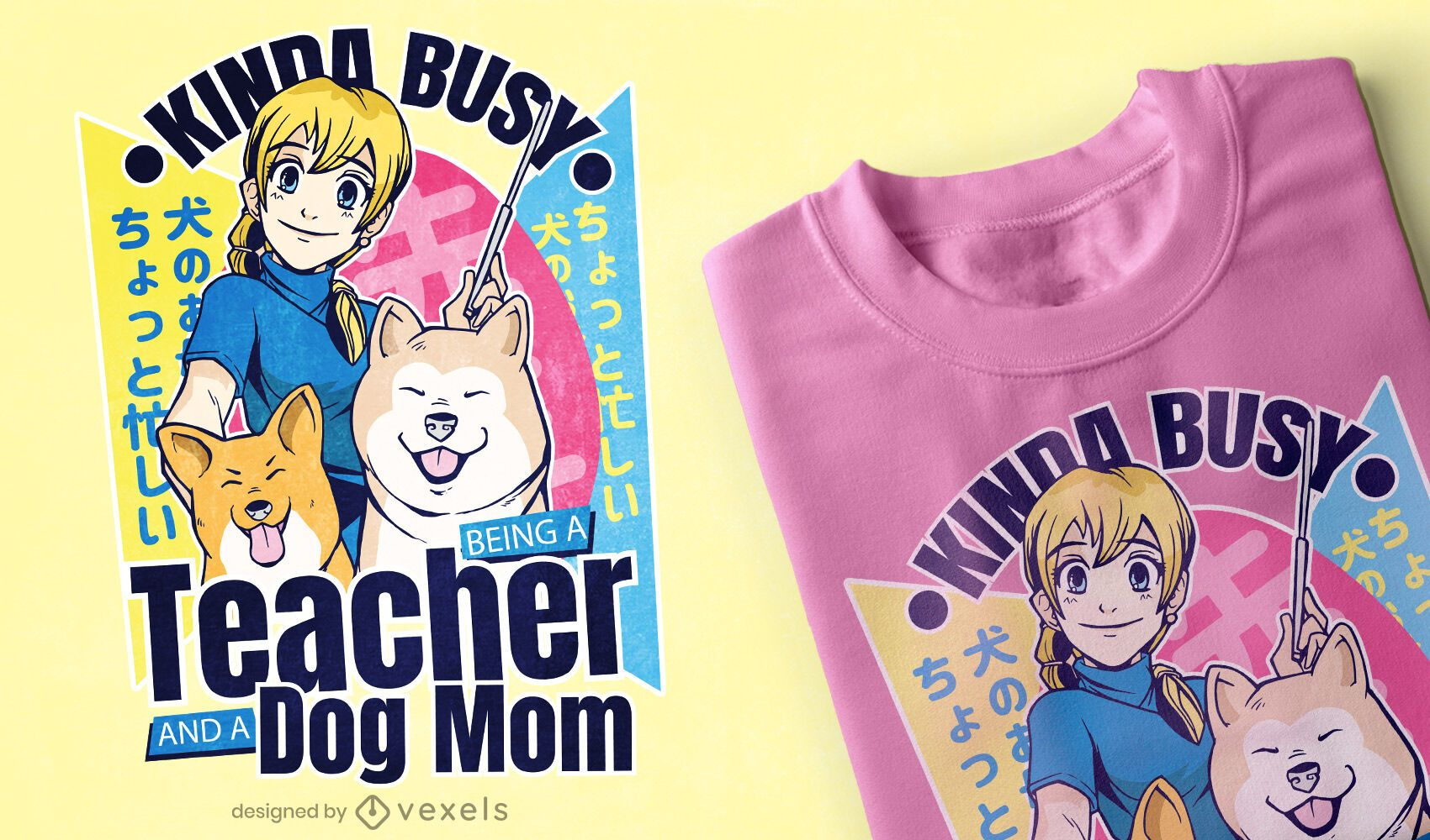 Girl with dogs anime t-shirt design