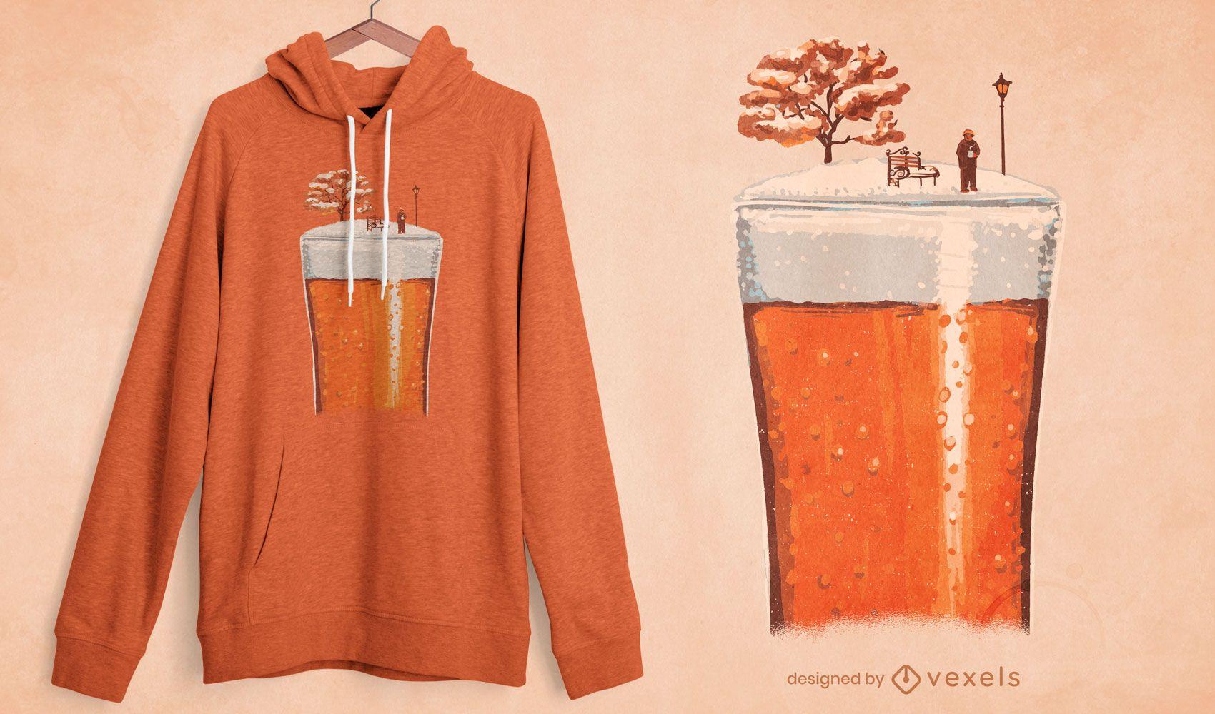 Diseño de camiseta de temporada de invierno de vaso de cerveza.