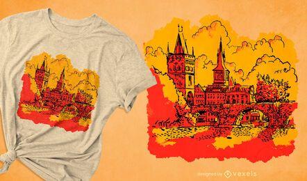 Landmark charles bridge t-shirt design