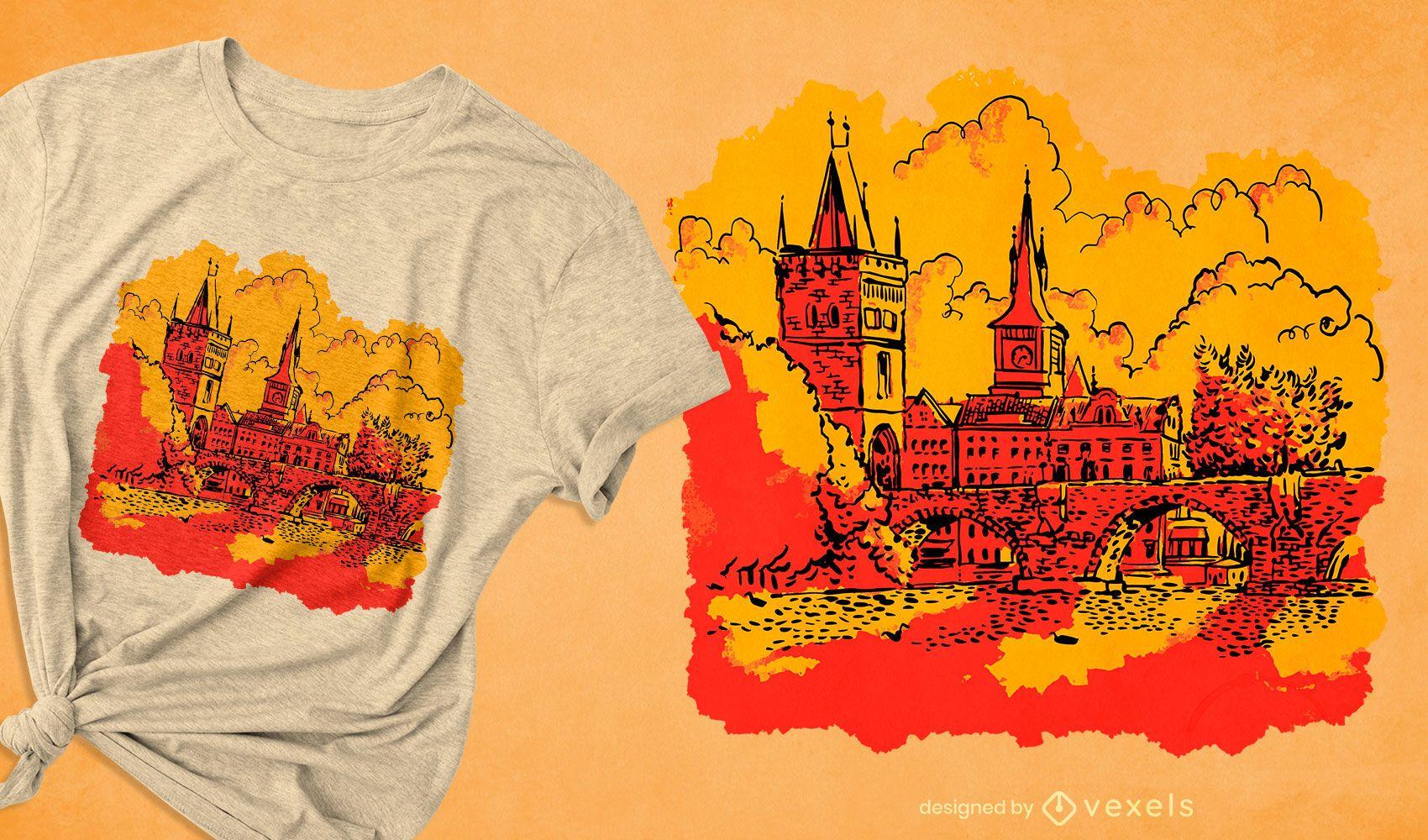 Diseño de camiseta emblemático charles bridge