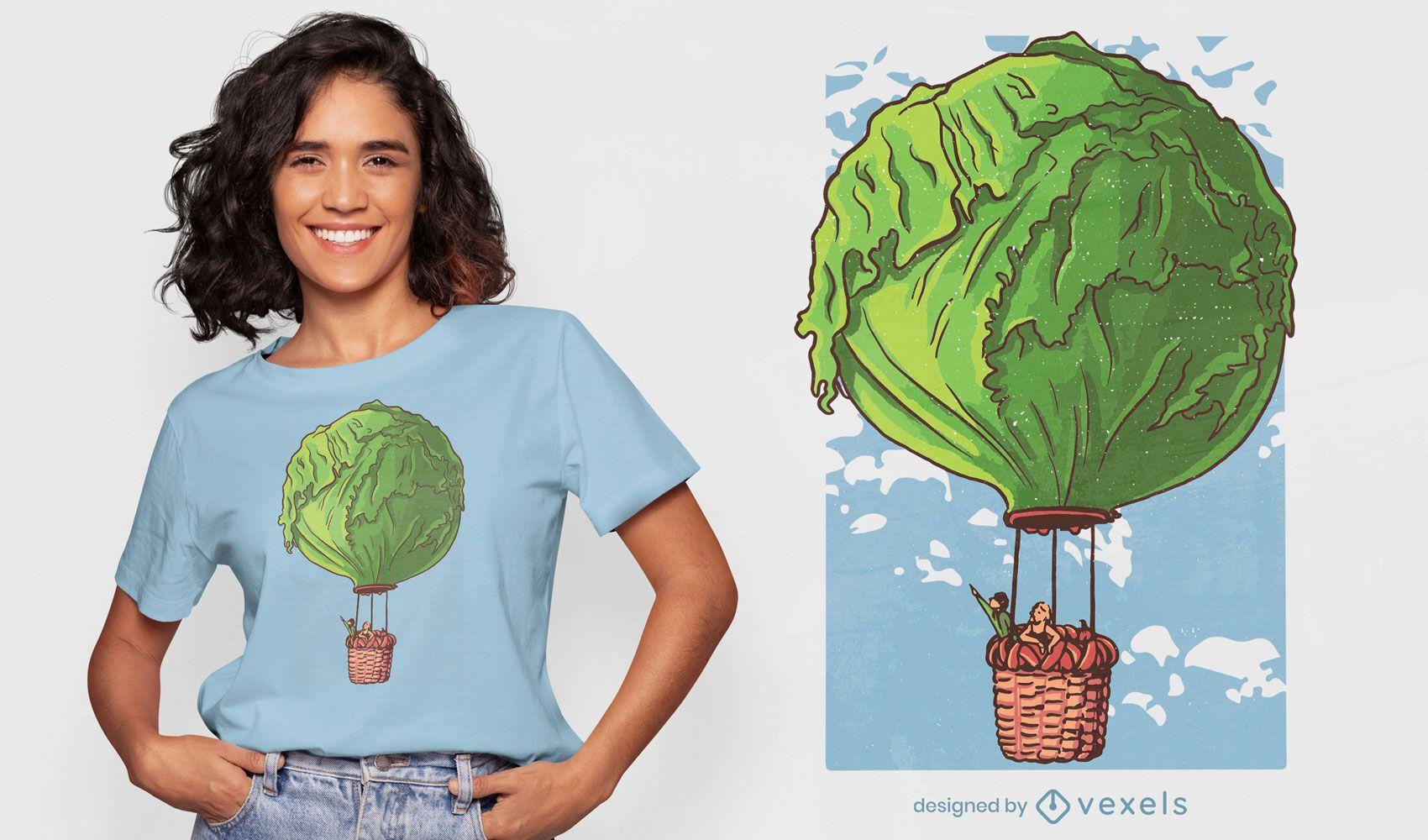 Diseño de camiseta de globo aerostático de lechuga.