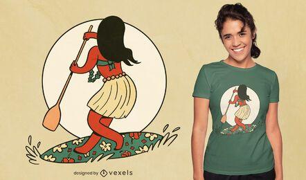Paddleboard sport girl t-shirt design